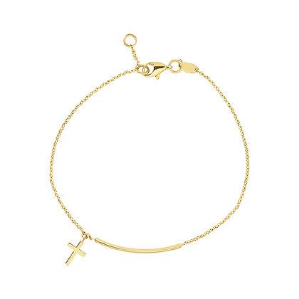 14KY Bar & Cross Bracelet