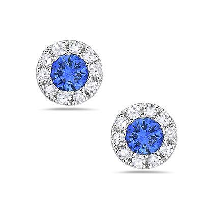 Bassali 14KW Sapphire & Diamond Stud Earrings