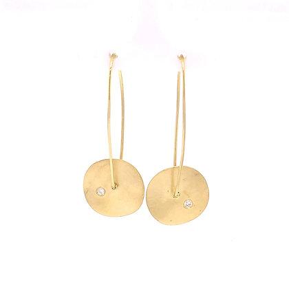 Cheri Dori 14KY Brushed Disk Earrings