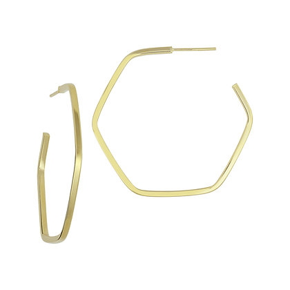 14KY Large Hexagon 3/4 Hoops