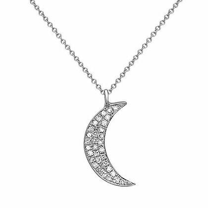 Bassali 14KW Diamond Moon Necklace