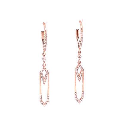 14KR Geometric Diamond Earrings