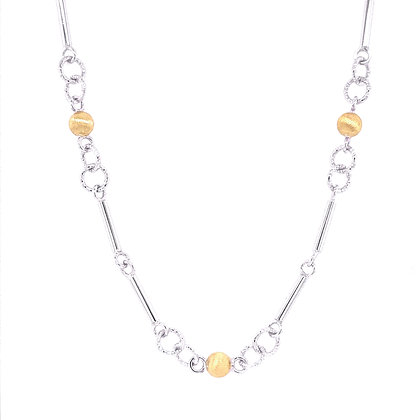 14K Yellow & White Textured Dot & Bar Station Necklace