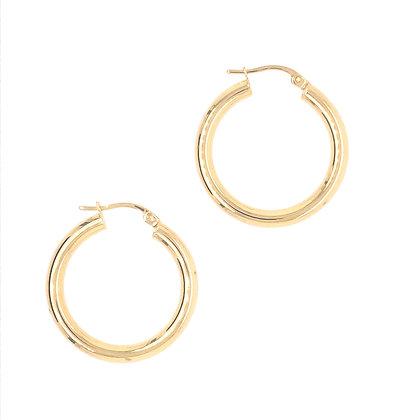 14KY Medium Round Hoop Earrings