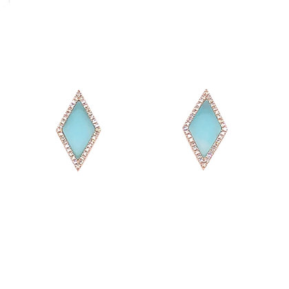 Bassali 14KY Geometric Amazonite & Diamond Earrings (0.16 CTW)