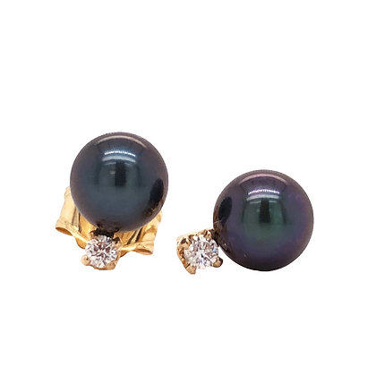 14KY Black Dyed Akoya Pearl & Diamond Earrings