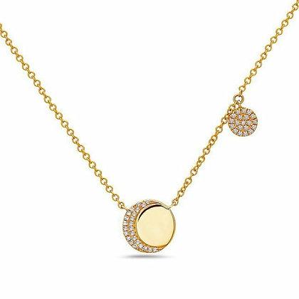 Bassali 14KY Diamond Double Disk Necklace