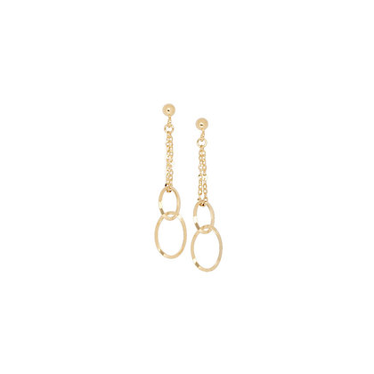 14KY 2 Strand Cable Earrings w/ 2 Oval Links