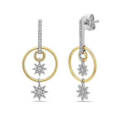Bassali 14KW&Y Dangling Diamond Star Earrings