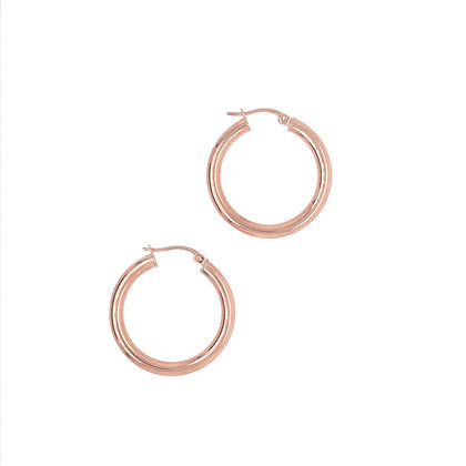 14KR Medium Round Hoop Earrings
