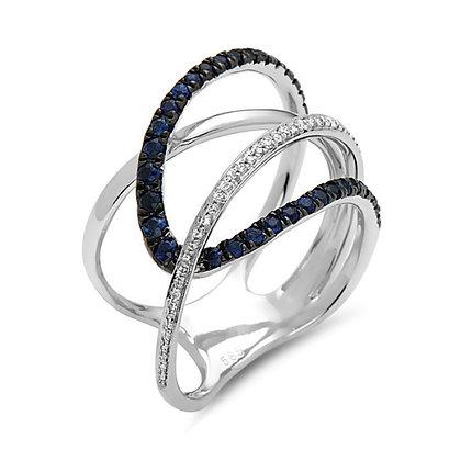 Bassali 14KW Sapphire & Diamond Geometric Ring