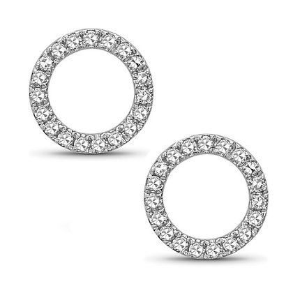 Bassali 14KW Diamond Circle Earrings