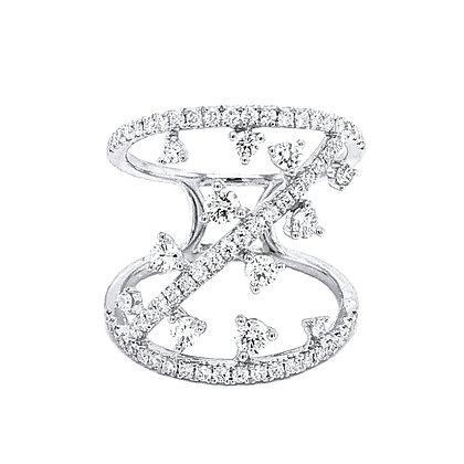 18KW Asymmetrical Diamond Ring