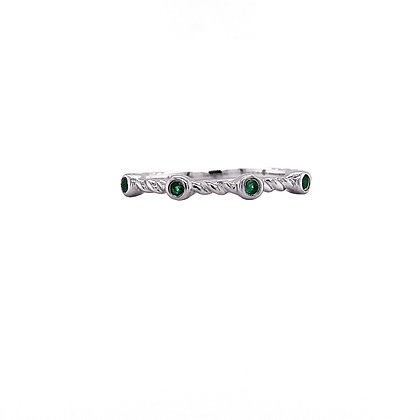 14KW Emerald Twisted-band Stackable Ring
