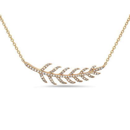 Bassali 14KY Diamond Leaf Pendant