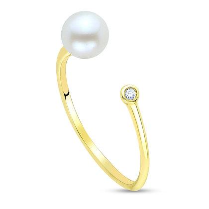 14KY Side Pearl & Diamond Ring