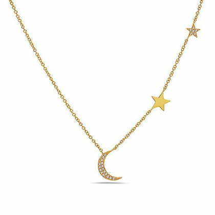Bassali 14KY Diamond Moon & Star Necklace