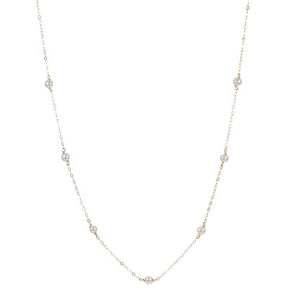 14KY Freshwater Pearl Station Necklace