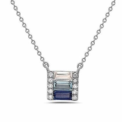 14KW Sapphire, Blue Topaz, & White Topaz Pendant