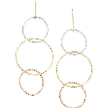 14K Tri-Color Triple Circle Earrings