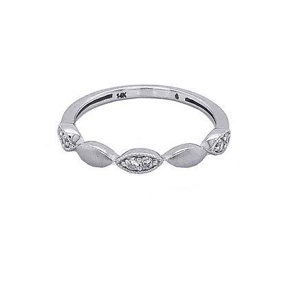 14K Satin White Gold Diamond Ring