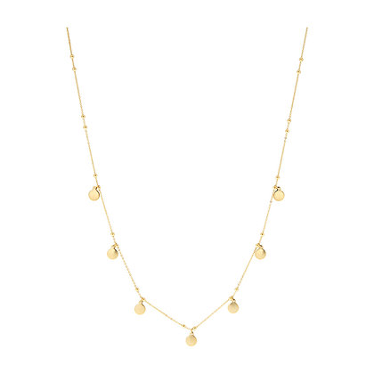 14KY Diamond-cut Chain & Circles Necklace