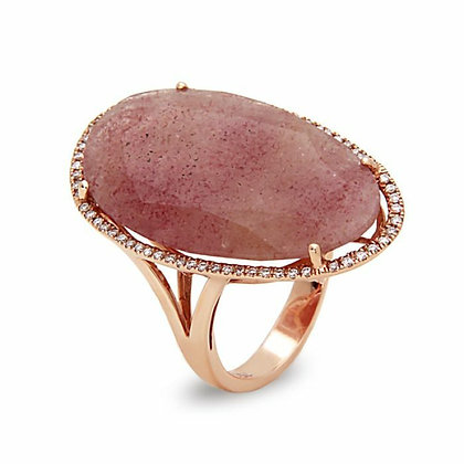 Bassali 18KR Strawberry Quartz & Diamond Ring