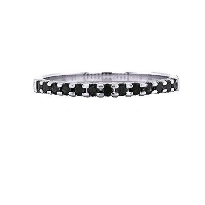 14KR White & Treated Black Diamond Stackable Ring