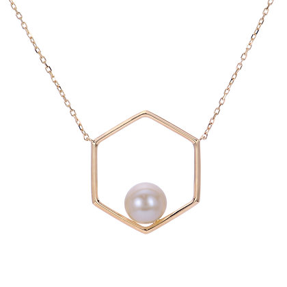 14KY Geometric Pearl Necklace