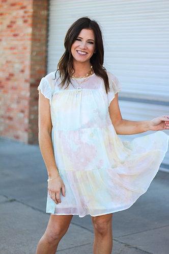 Pastel TyeDye Tiered Dress