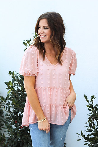 Girly Blush Swiss Dot Top