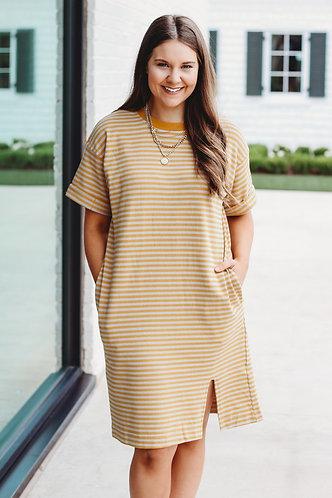 Honey + Grey Stripe T-Shirt Dress