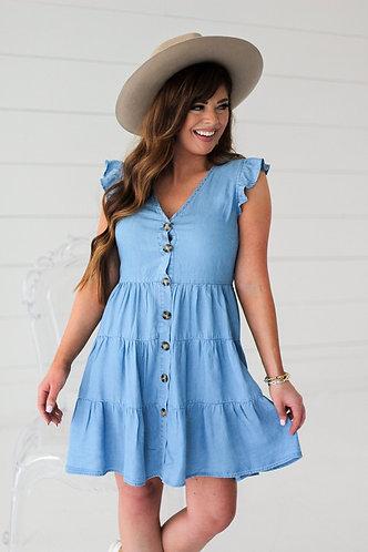Chambray Button Dress
