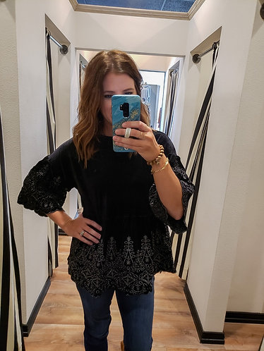 Velvet Top with Grey Embroidery
