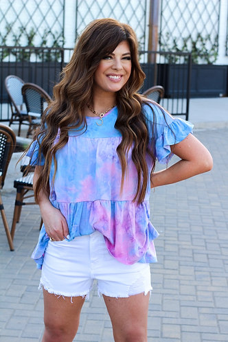 Cotton Candy TyeDye Peplum Top
