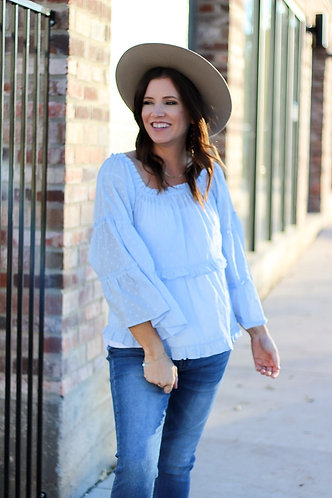 OTS Spa Blue Bell Sleeve Top