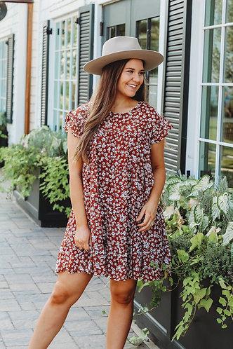 Brick Floral Tiered Dress