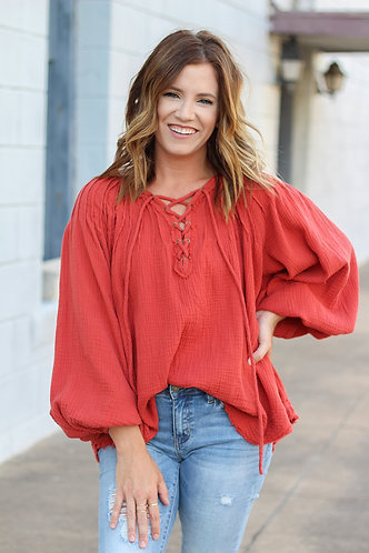 Downtown Lace Up Top