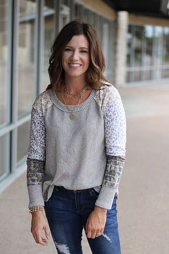 Grey Mix Print Top