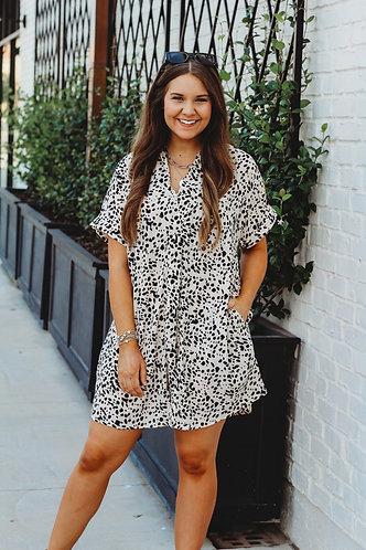 Collared Print Dress