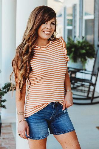 Orange Stripe Top with Ruffle Trim