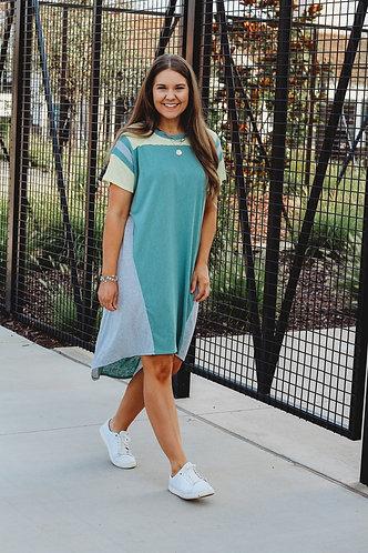 Sage Slub Hi/Lo Dress