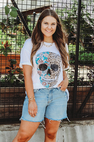 Skull Floral Graphic Tee