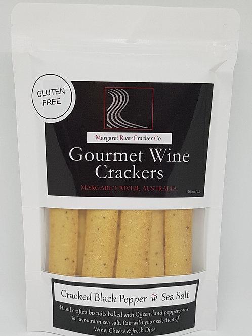 GLUTEN FREE - Cracked Pepper & Sea Salt Wine Crackers - 110gm