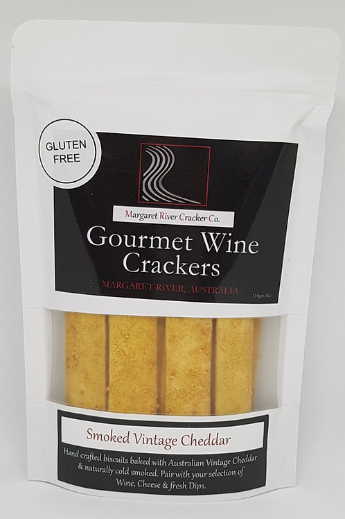 GLUTEN FREE - Smoked Vintage Cheddar Wine Crackers 110gm