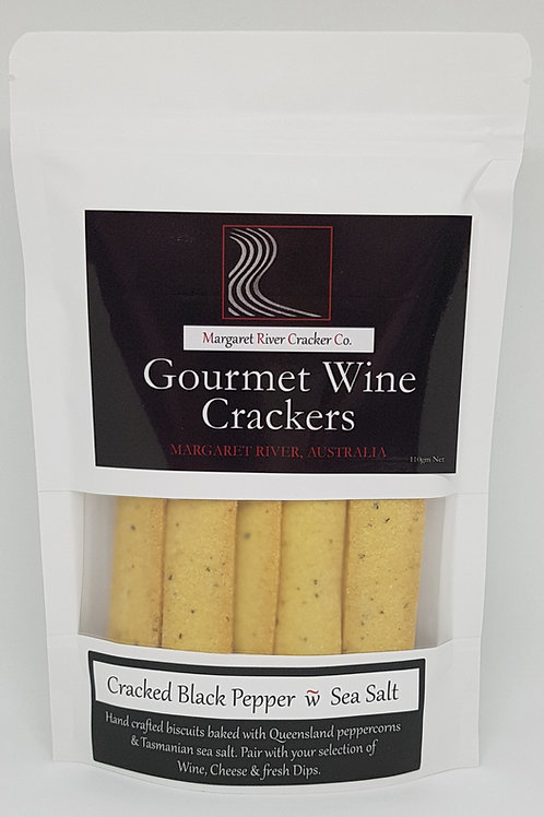Cracked Pepper & Sea Salt Wine Crackers - 110gm
