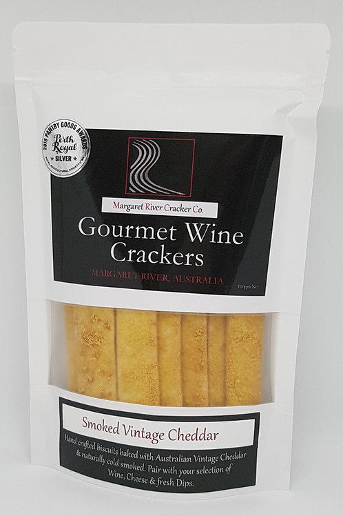 Smoked Vintage Cheddar Wine Crackers 110gm