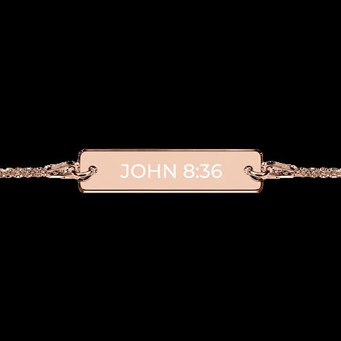 John 8:36 Engraved Silver Bar Chain Bracelet