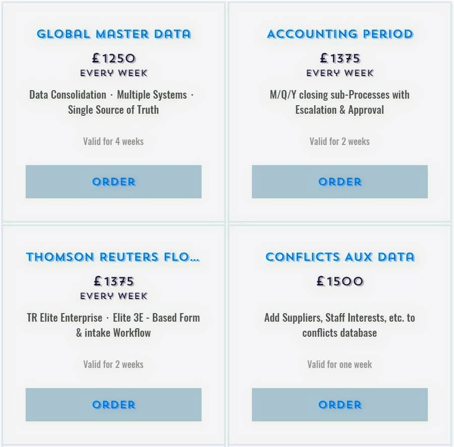 Global Master Data · Accounting sub-processes · TRE - based workflows · Conflicts Data Merger & Acqu