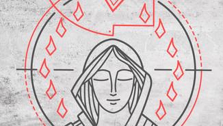 2019 Maria en Pentecostes simbolo textur